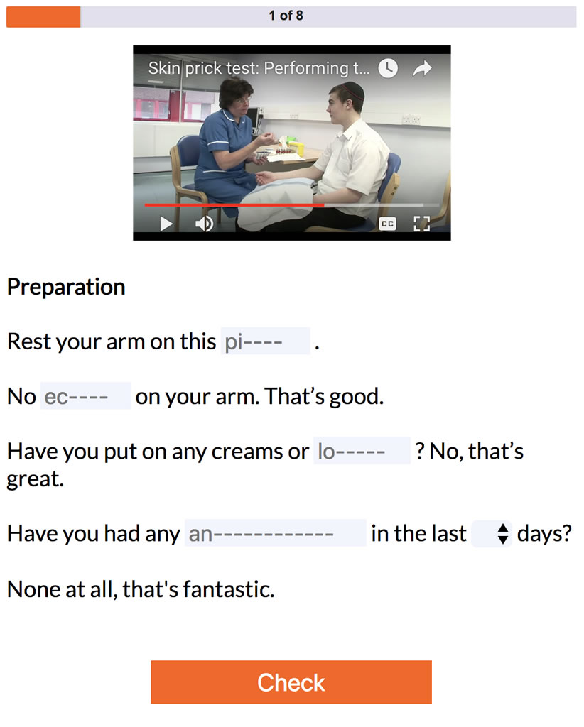Combination of video and text based learning