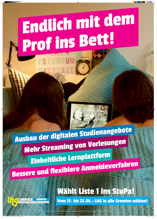 Election poster from the students parliament election in 2017 demanding more lectures to be recorded.