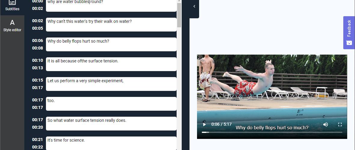 Subly, online video subtitler